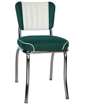 QUICKSHIP Chrome Diner Chair Two Tone Deluxe Channel Back Green and White Vinyls
