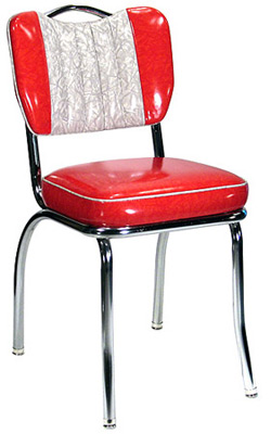 Two Tone Channel Back With Handle Chrome Diner Chair