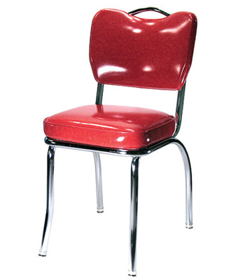Plain Handle Back Chrome Diner Chair 2 Inch Thick Seat, Front View
