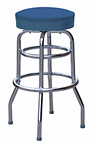 QUICKSHIP Double Ring Budget Chrome Bar Stool Blue Vinyl