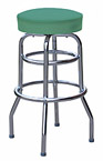 QUICKSHIP Double Ring Budget Chrome Bar Stool Green Vinyl