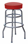 QUICKSHIP Double Ring Budget Chrome Bar Stool Wine Vinyl