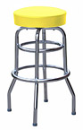QUICKSHIP Double Ring Budget Chrome Bar Stool Yellow Vinyl