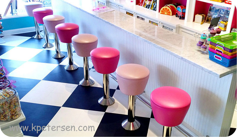 Drum Seat Bolt Down Counter Stool Installation Overhead View
