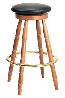 Early American, Colonial Style Round Wood Pub Stool With Upholstered Seat
