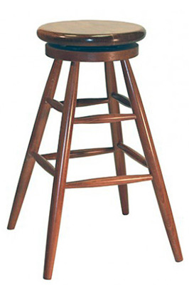 Early American, Windsor Style Backless Wood Swivel Seat Pub Stool Wood Seat