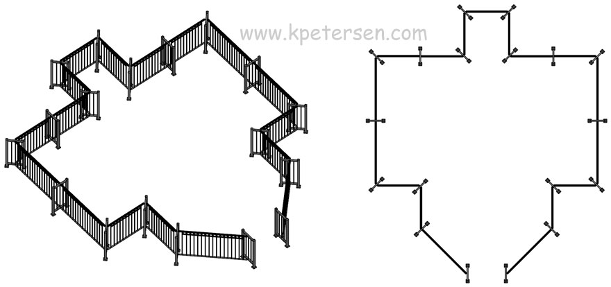 Portable Fencing Layout Perspective And Plan Views Drawing