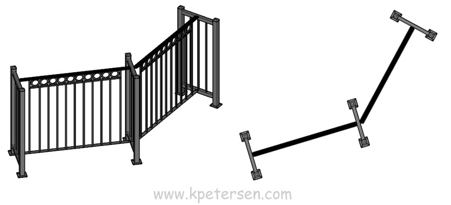 Portable Fencing Drawing 45 Degree Corner Plan And Perspective Views