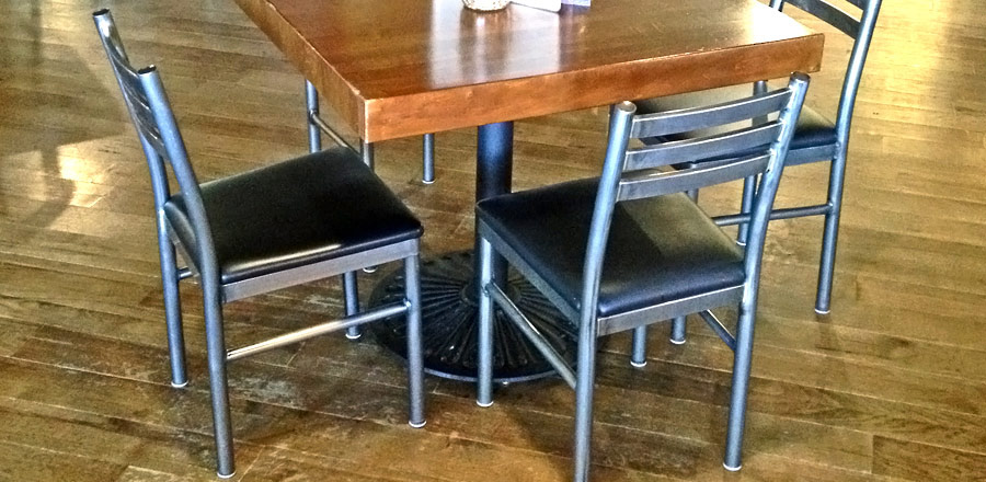 Ferro Steel Restaurant Chair with Upholstered Seat Installation Detail