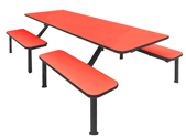 Flat bench seat industrial cafeteria unit for 8 people