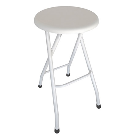 White Folding Steel Bar Stool Side View