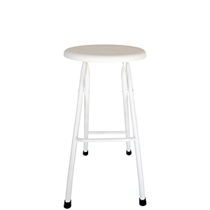 White Folding Steel Bar Stool Front View