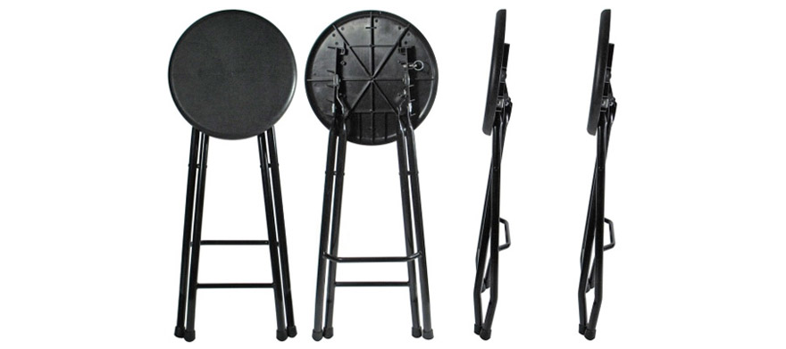 Folding Steel Bar Stools Folded Flat