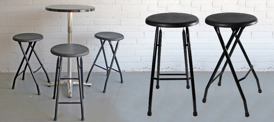 Folding Steel Bar Stools Black