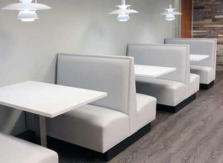 Four Seat Single And Double Upholstered Booths