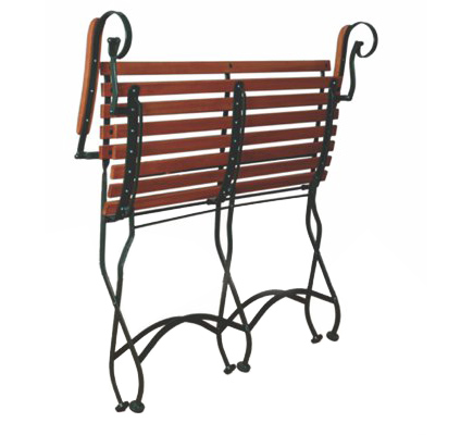 Parisian Style Folding Bistro Two Seat Bench with Armrests Folded Position