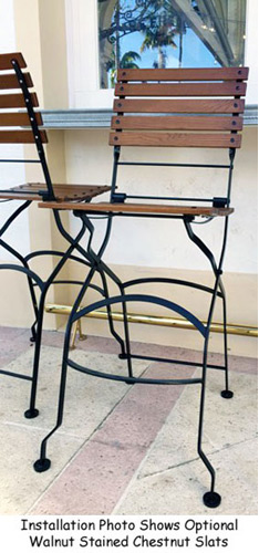 19th Century Reproduction French Bistro Folding Bar Stool Installation Detail