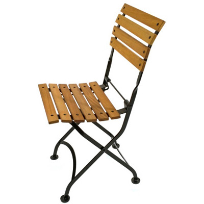 Teak Folding Bistro Chair Side View