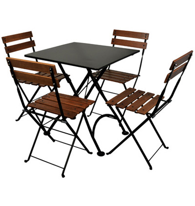 19th Century Reproduction French Bistro Cafe Folding Chairs and Steel Folding Table