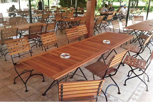 Deluxe Teak Folding Bistro Chairs with Teak Tables Installation