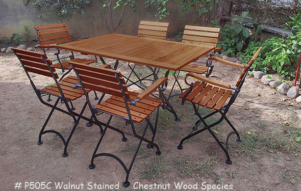 19th Century Reproduction French Garden Cafe Folding             Arm Chairs, Walnut Stained Chestnut Dining Table