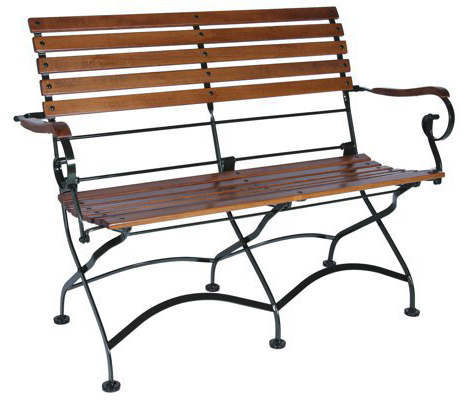 Parisian Style Folding Bistro Chestnut Two Seat Bench with Armrests