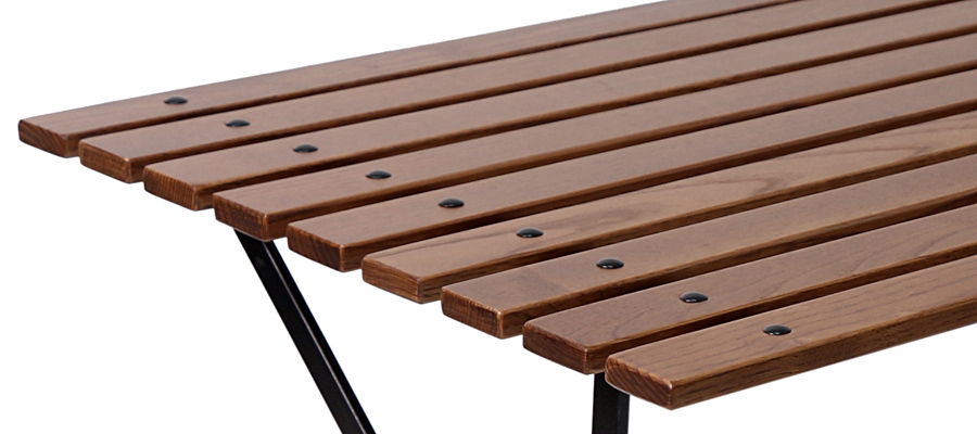 French Bistro Folding Coffee Table Walnut Stained Chestnut Slats Detail