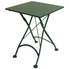French Bistro Small Green Square Steel Outdoor Folding Table