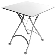 French Bistro Small White Square Steel Outdoor Folding Table