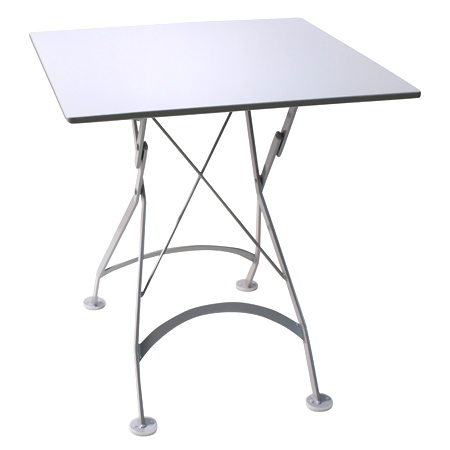 French Bistro Small 24 X 24 Inch Square Steel Outdoor Folding Table White