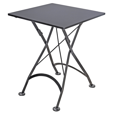 French Bistro Small 24 X 24 Inch Square Steel Outdoor Folding Table Black