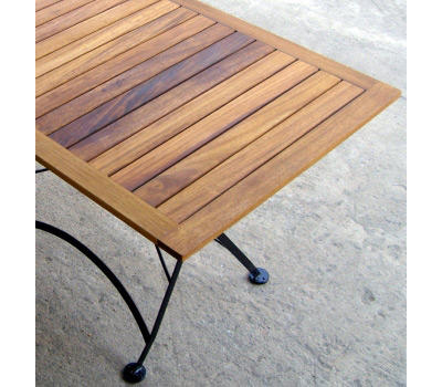 French Bistro Square Folding Table Detail