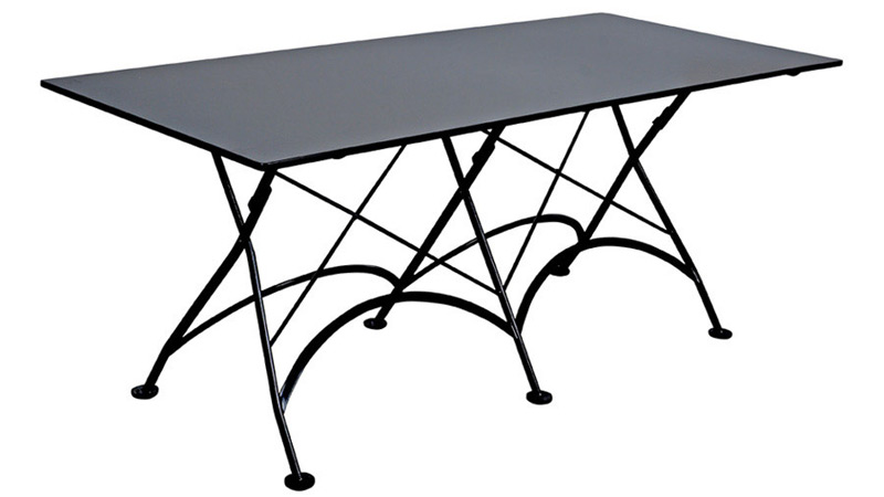 French Bistro 32 X 48 Inch Rectangular Steel Outdoor Folding Table Black