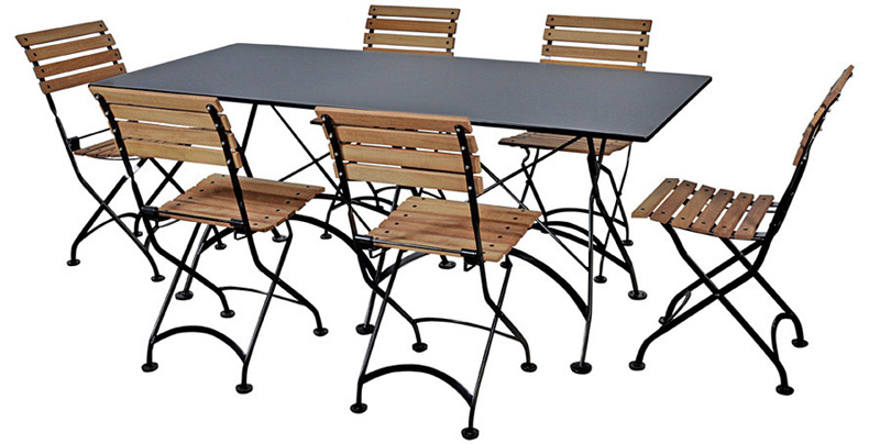 Teak Folding Bistro Chairs with 32 X 72 Inch Rectangular Steel Outdoor Folding Table Black