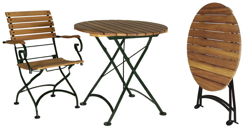 19th Century Reproduction Outdoor Teak French Bistro Cafe Folding Table 32 inch Round