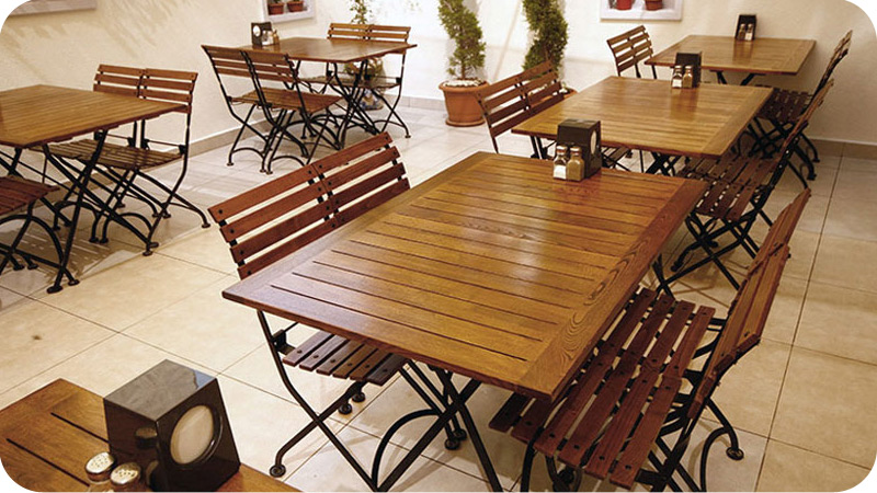 Teak Folding Bistro Chairs with Rectangular Teak Tables Installation