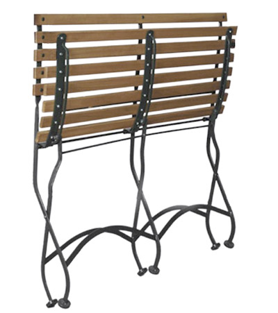 Parisian Style Folding Bistro Teak Two Seat Bench Folded Position