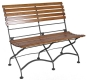 Parisian Style Folding Bistro Two Seat Teak Bench