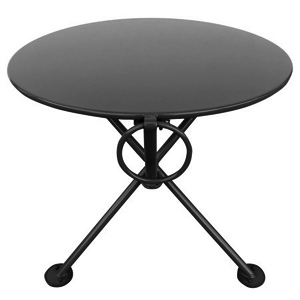 20 Inch Round Steel Outdoor Tripod Folding Coffee Table Black