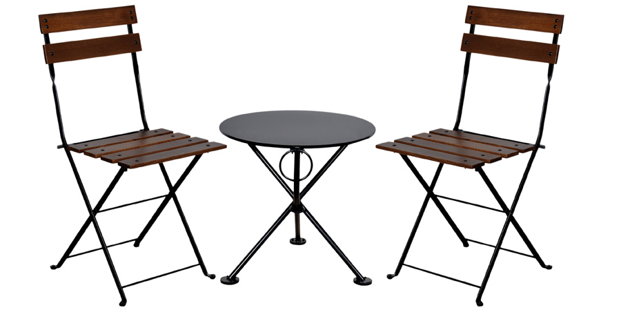20 Inch Round Steel Outdoor Tripod Folding Coffee Table with Chairs