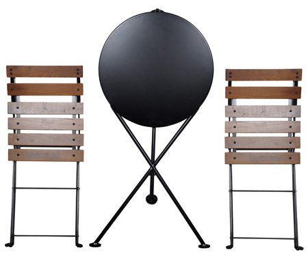 Round Steel Outdoor Tripod Folding Table and Chairs in Folded Position
