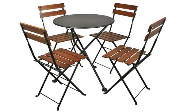 Round Steel Outdoor Tripod Table Black with Chairs