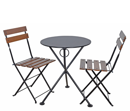 Round Steel Outdoor Tripod Folding Table and Chairs