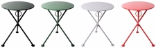 French Bistro Round Steel Outdoor Tripod Folding Tables In Colors