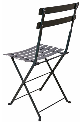 French Steel Garden Chair Black Rear View