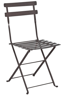 French Steel Garden Chair Black Front View