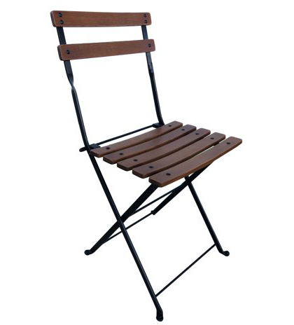 French Garden Bistro Folding Chair - Curved Rounded Chestnut Slats
