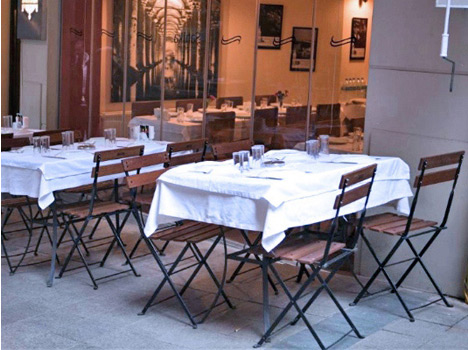 French Bistro Outdoor Cafe Folding Chairs Installation