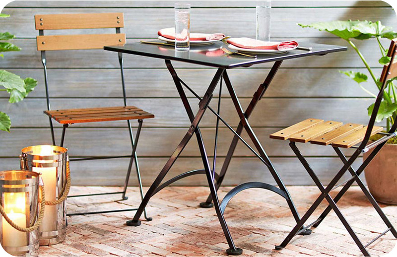 French Bistro Outdoor Cafe Folding Chairs with Steel Table