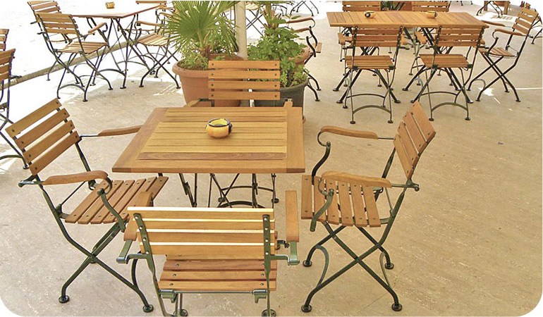 Teak Folding Bistro Armchairs with Teak Tables Installation
